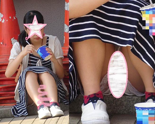 若いCちゃん風モデル パンチラ+ハミ毛 座りパンチラ画像セット18